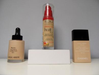 Armani Maestro - Bourjois Radiance Reveal Healthy Mix Foundation - Chanel Vitalumiere Aqua